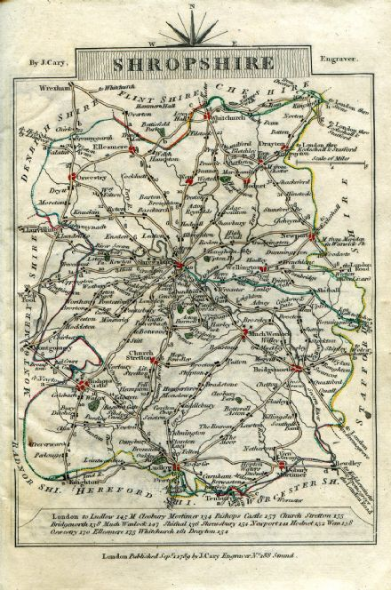 Shropshire County Map by John Cary 1790 - Reproduction